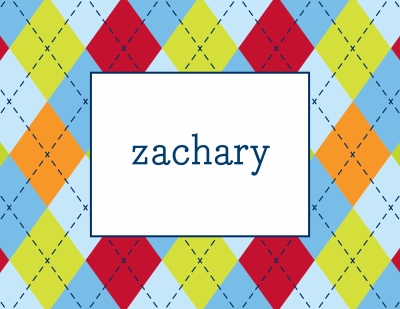 Argyle Multi Blue Stationery Personalized by Boatman Geller