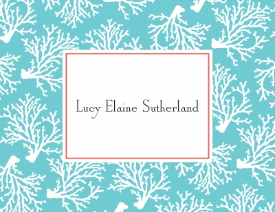 Coral Repeat Teal Stationery Personalized by Boatman Geller