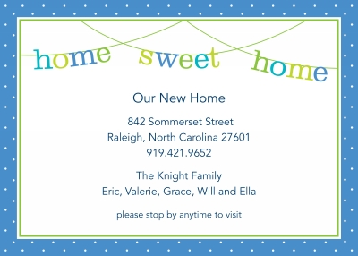 Banner Home Sweet Home Announcement Personalized by Boatman Geller