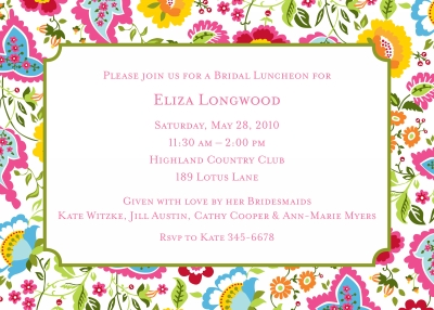 Bright Floral Invitation Personalized by Boatman Geller
