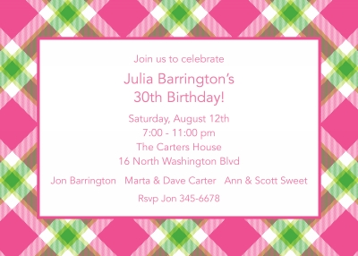 Ashley Plaid Pink Invitation Personalized by Boatman Geller