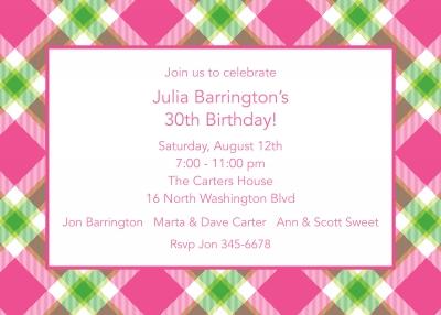 Ashley Plaid Pink Invitation Personalized by Boatman Geller