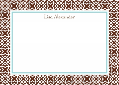 Mod Lattice Border Brown Stationery Personalized by Boatman Geller