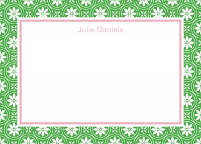 Medallion Border Green Stationery Personalized by Boatman Geller