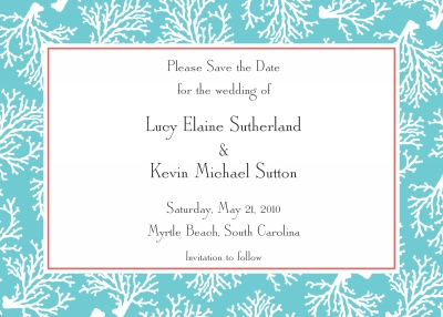 Coral Repeat Teal Invitation Personalized by Boatman Geller
