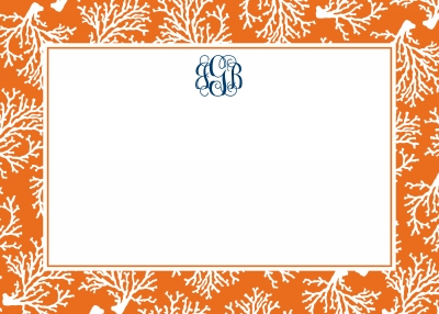 Coral Repeat Stationery Personalized by Boatman Geller