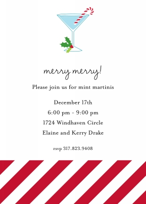 Candy Cane Flat Holiday Invitation Personalized by Boatman Geller