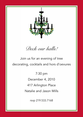 Holiday Chandelier Flat Holiday Invitation Personalized by Boatman Geller