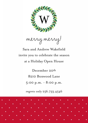 Wreath Monogram Flat Holiday Invitation Personalized by Boatman Geller