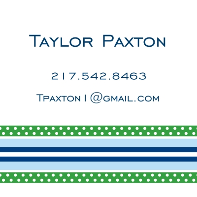 Grosgrain Blue & Green Personalized Sticker Personalized by Boatman Geller