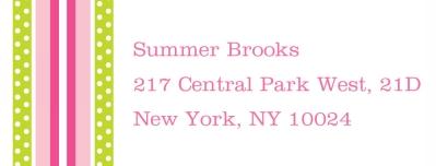 Grosgrain Pink & Green Personalized Sticker Personalized by Boatman Geller