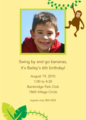 Monkey Invitation Personalized by Boatman Geller