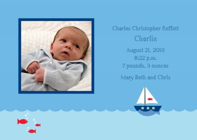Sailboat Announcement Personalized by Boatman Geller