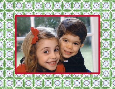 Tile Red and Green Foldover Digital Photo Card Personalized by Boatman Geller