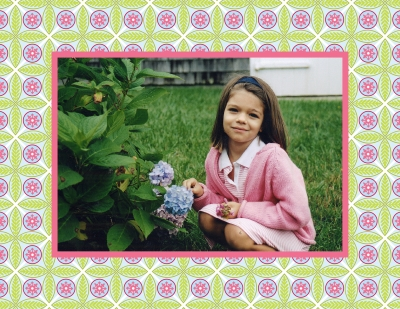 Tile Pink and Green Foldover Digital Photo Card Personalized by Boatman Geller