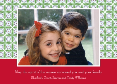Tile Red and Green Flat Digital Photo Card Personalized by Boatman Geller