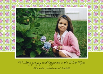 Tile Pink and Green Flat Digital Photo Card Personalized by Boatman Geller