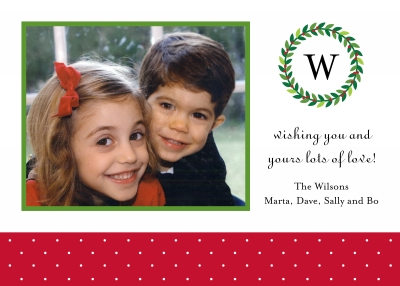 Holiday Wreath Flat Digital Photo Card Personalized by Boatman Geller