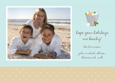 Shell Pail Flat Digital Photo Card Personalized by Boatman Geller