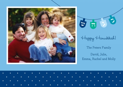 Dreidel Flat Digital Photo Card Personalized by Boatman Geller