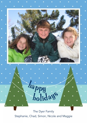 Snow Trees Swag Flat Digital Photo Card Personalized by Boatman Geller