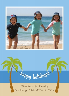 Palm Trees Swag Flat Digital Photo Card Personalized by Boatman Geller
