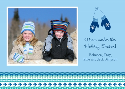 Mittens Blue Flat Digital Photo Card Personalized by Boatman Geller