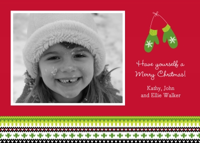 Mittens Red Flat Digital Photo Card Personalized by Boatman Geller