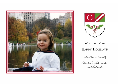 Crest Holly Flat Digital Photo Card Personalized by Boatman Geller