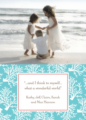 Coral Repeat Teal Flat Digital Photo Card Personalized by Boatman Geller