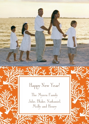 Coral Repeat Flat Digital Photo Card Personalized by Boatman Geller