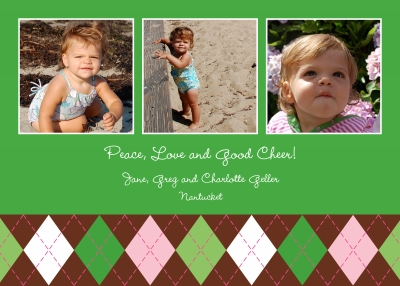 Argyle Green Flat Digital Photo Card Personalized by Boatman Geller