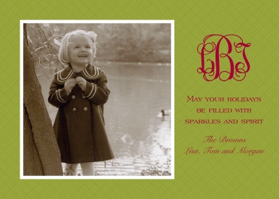 Basketweave Green Flat Digital Photo Card Personalized by Boatman Geller