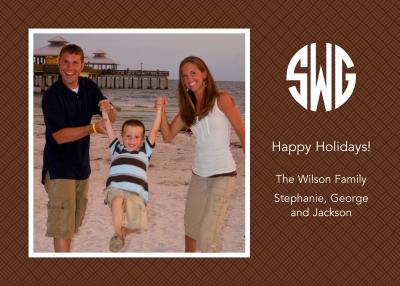 Basketweave Brown Flat Digital Photo Card Personalized by Boatman Geller