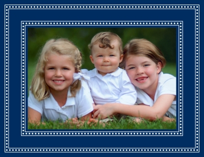Beaded Navy Foldover Digital Photo Card Personalized by Boatman Geller
