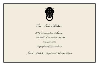 Lion Door Knocker Announcement Personalized by Boatman Geller