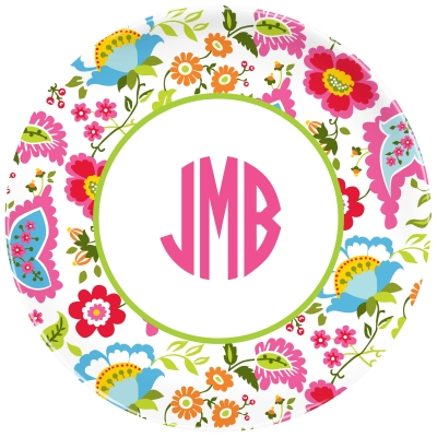 Floral Bright Personalized Plate Personalized by Boatman Geller