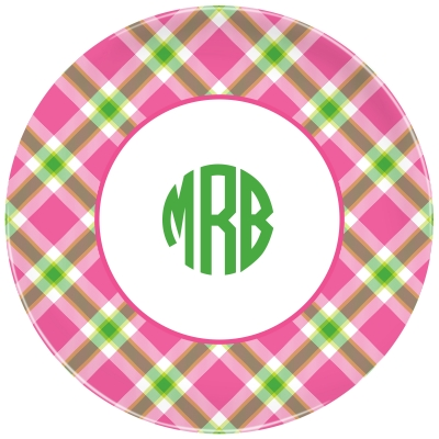 Ashley Plaid Pink Personalized Plate Personalized by Boatman Geller
