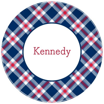Ashley Plaid Navy Personalized Plate Personalized by Boatman Geller