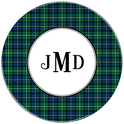 Black Watch Plaid Personalized Plate Personalized by Boatman Geller