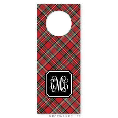 Plaid Red Holiday Wine Tag