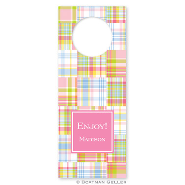 Madras Patch Pink Wine Tags - qty 8