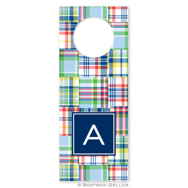 Madras Patch Blue Wine Tags - qty 8