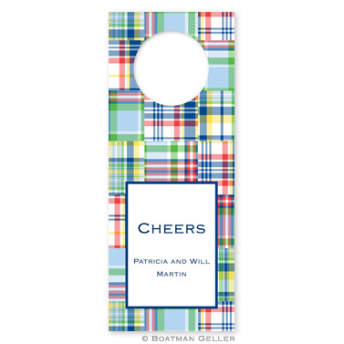 Madras Patch Blue Wine Tags - qty 8 by Boatman Geller