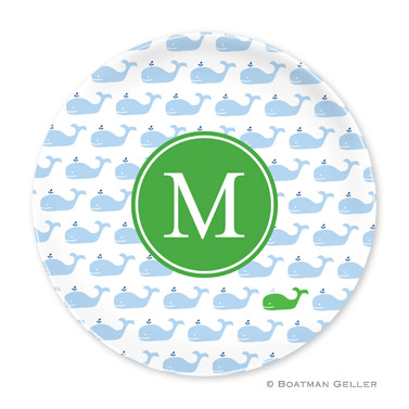Whale Blue Repeat Personalized Plate Personalized by Boatman Geller