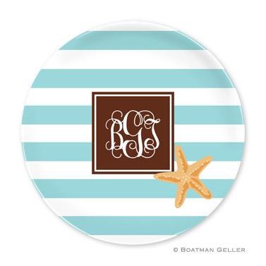 Stripe Starfish Personalized Plate Personalized by Boatman Geller