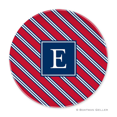 Repp Tie Red & Navy Personalized Plate Personalized by Boatman Geller