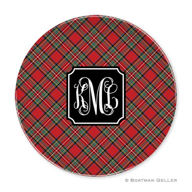Plaid Red  Holiday Plate