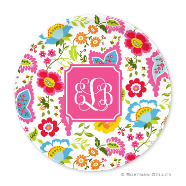 Bright Floral Personalized Plate Personalized by Boatman Geller