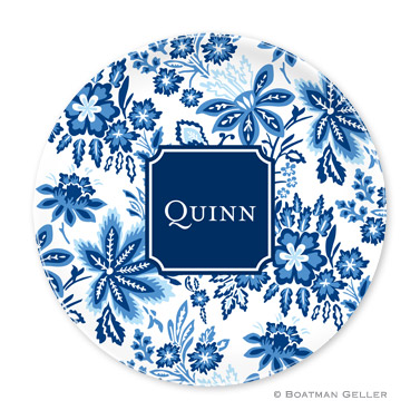 Classic Floral Blue Personalized Plate Personalized by Boatman Geller